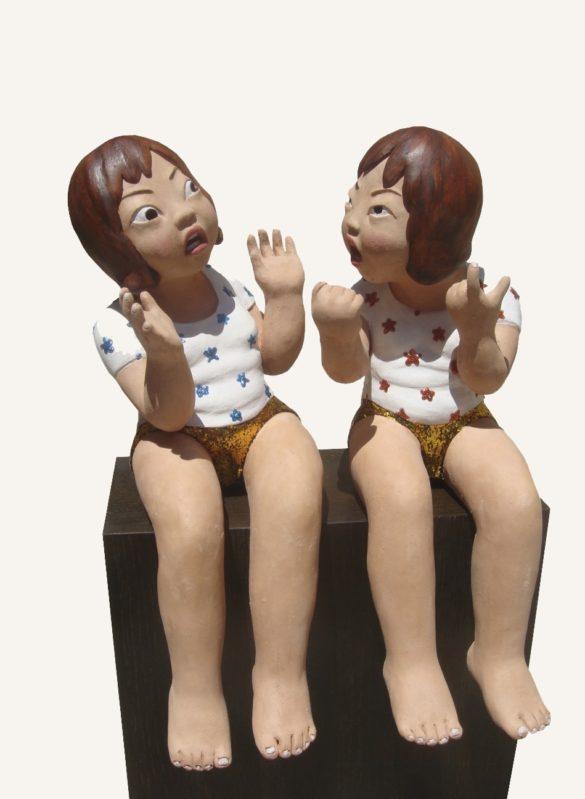 youn cho korean artist nice artworks duet trio painted terracotta sculpture