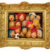 youn cho korean artist nice artworks frame painted terracotta sculpture